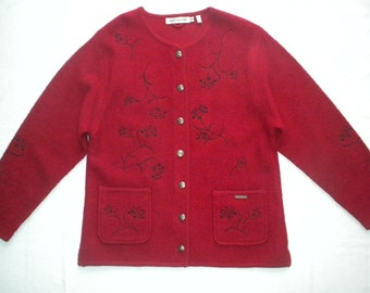 Vintage 80s Gaddy Red Boiled Wool Sweater Cardigan Pewter Buttons Black Floral Embroidery XL