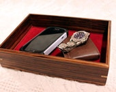 Men's Valet Box - Wooden Tray or Dresser Box - African Zebrawood with Spalted Maple Accent