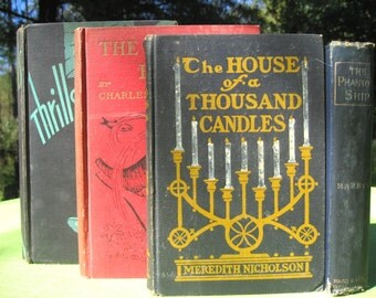 vintage book lot the water babies the phantom ship the house of a thousand candles thrills