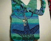 "Crossbody  Purse  Reversible  ""SEA LIFE"" Beach Bag  Washable Criss Cross  Bag with Keychain / Bagcharm"