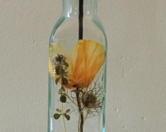Green Tinted Glass Olive Oil Bottle Decorated with California Poppy and Thyme