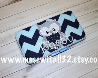 Custom Navy Chevron with Owl Applique Diaper Wipes Case