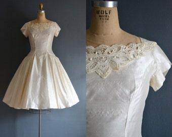 Lola / 50s silk wedding dress / vintage 1950s wedding dress