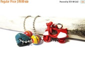 SALE Fireball Fordite Vintage Car Paint Beads/Leland Blue Stone/Enamel Red Metal Scooter Charm/Lake Michigan/30 Inch Necklace/Motor Agate