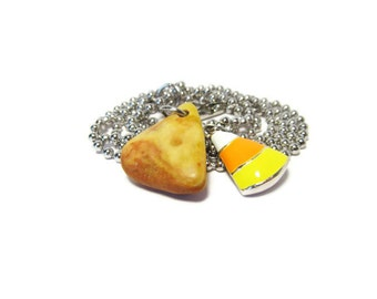 Candy Corn Shaped Stone/30 Inch or less Bead Chain Necklace/Candy Corn Enamel Charm/Candy Corn Fall Colors/Autumn Theme/Halloween