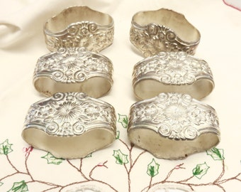Napkin Rings Ornate Silver Tone Brass, Set of 6, Jewelry for Your Holiday Table Setting