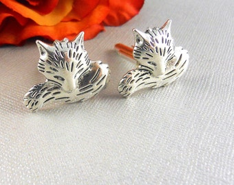 Sleeping Fox, Fox, Fox Cufflinks, Antique Silver Fox, Silver Fox Cufflinks, Fox Cuff Links Steampunk Vintage Inspired