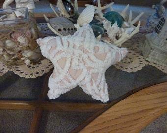 Vintage Chenille Pink and White Starfish  Beach Decoration Home Decor Sea Life Decor