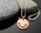 Loved hand stamped lucky penny necklace on stainless steel chain by D2E Gallery