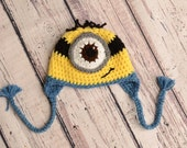 Ready to Ship! 0-3 Month Baby Minion Crochet Hat, Photo Prop, Crochet Hat, Minion Hat, Newborn Minion Hat