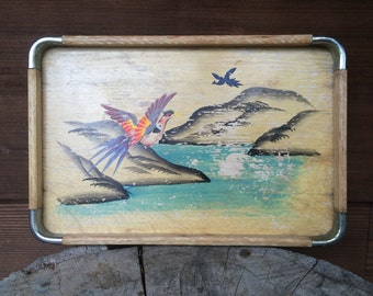 Hand Painted Japanese Wooden Tray Pheasant