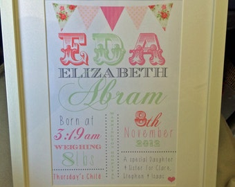 New Baby Gift - Personalised Print Framed