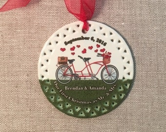 Newlywed Christmas Ornament with a Tandem Bicycle Design