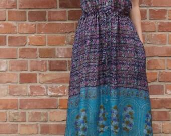 summer maxi dress / boho gown / gipsy dress / flower printed maxi dress