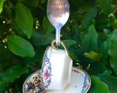 Teacup Bird Feeder with Custom Hand Stamped Bent Spoon, Your name with EST. and year. Perfect wedding/anniversary or new home gift