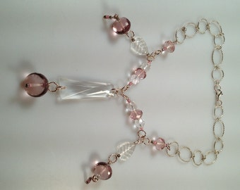 IBA Jewelry, Pink Ice, Fringed NECKLACE, Faceted Pink Glass, Crystal Leaves, Czech Glass, Crystal Prism, INSPIRED by Amber