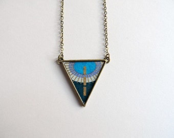 Necklace - Waltz the chance (blue washi)