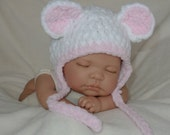 Hand Crochet Knit Baby Hat Teddy Bear Girl Chunky Pink Photo Prop Newborn -  1 Month