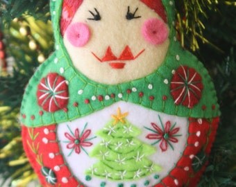 Hand Embroidered Babushka Felt Plushie Ornament with Christmas Tree - Made to Order