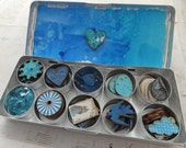 BEAUTIFUL BLUE Collection of Art Bits in a Tin - Clouds, Birds, Vintage Labels, Embellishments and More - One-of-a-Kind!!!