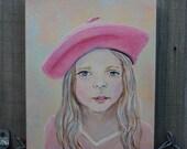 Original 8 x 10 Child Angel Painting Inspirational, French Girl, Children's Decor, Nursery room, Pink, Earth Angel, Girls Room-