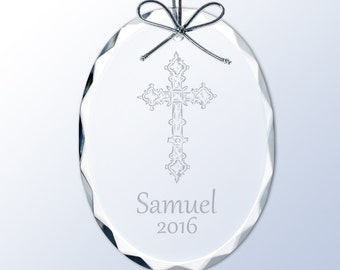 Engraved Holy Cross Crystal Ornament