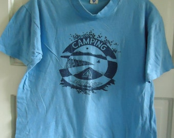 Vintage 70s CAMPFIRE CAMPING Summer Camp T Shirt sz S