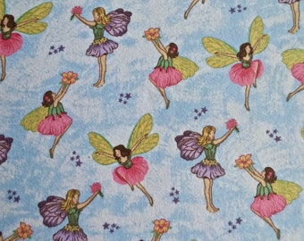 "Fairy print flannel fabric 2 1/3 yd x 44"" wide"