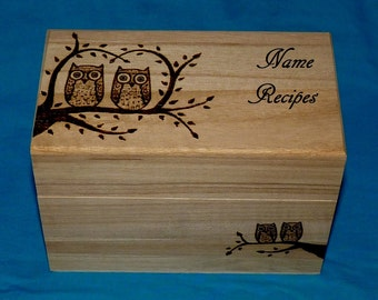 Decorative Rustic Wood Recipe Card Box Wood Burned Owl Recipe Box Wedding Tree Wooden Guest Book Box Personalized Engraved Love Birds