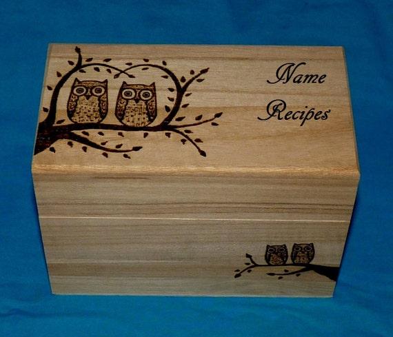 Decorative Recipe Box 2: Decorative Rustic Wood Recipe Card Box Wood Burned Owl Recipe