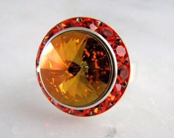 Brandy on Hyacinth Swarovski Crystal Ring Adjustable Silver Halo