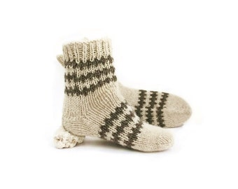 Unisex Rustic Wool Socks. Organic Undyed Wool Socks. M men and M women socks size.