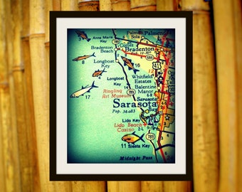 Cool Sarasota Map Print 8x10, Siesta Key Florida , vintage Florida Maps, illustrated maps Sarasota gifts