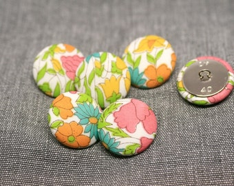 Liberty of London Poppy and Daisy Fabric Covered Buttons