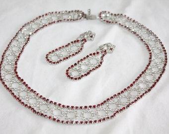 Vintage Red Rhinestone Kramer Necklace Designer  1970s Jewelry