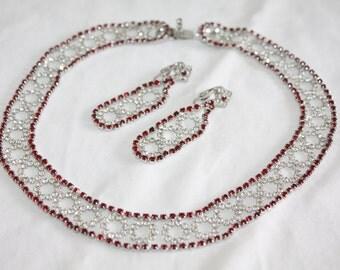 Vintage Red Necklace, Collar Choker Necklace, Rhinestone Kramer Necklace Designer  1970s Jewelry