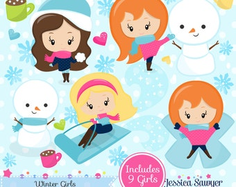 INSTANT DOWNLOAD - Winter girls Clipart and Vectors for personal and commercial use