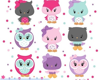 80% OFF - INSTANT DOWNLOAD,  aqua and pink owl clipart for personal and commercial use