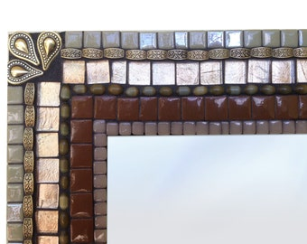 Brown and Copper Mosaic Wall Mirror - SALE