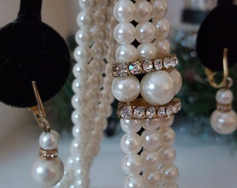 Bridal Jewelry Set: Vintage Faux Pearl Choker and Earrings