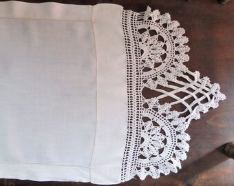 Vintage Linen and Crochet Long Table Runner Dresser Scarf