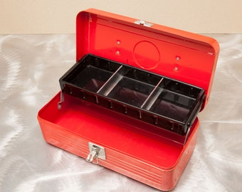 Vintage SIMONSEN Tool Box - All Metal with Parts Tray - Great Display