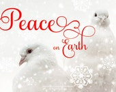 Peace on Earth -Merry Christmas with Love, Joy and Peace -Holiday Christmas Greeting Card & Envelope -Two Sided 5x7 -Gold or Red Script