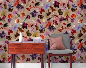 Floral Botanical Wallpaper, Autumn Flurry Design, Bold Home Décor, Feature Wall