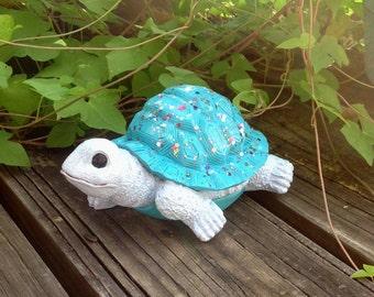 Turquoise Garden Turtle - Glittered Turtle Statue - Garden Decor - Whimsy Yard Art - Birthday