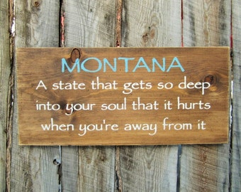 Montana is a state of mind sign made in montana western decor for Montana rustic accents