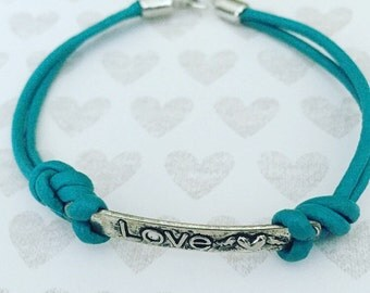 Turquoise Leather Bracelet. Love Bracelet. Chic. Leather Cord Bracelet. Unique Bracelet. Inspiration. Sugarplum Gallery.