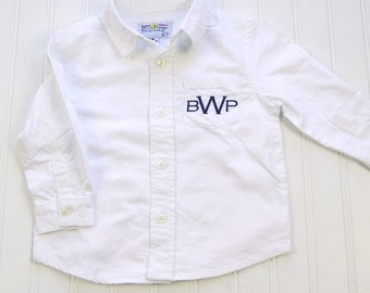 Monogram dress shirt etsy for Initials on dress shirts
