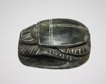 Hand Carved Soapstone Scarab Paperweight/Carved Art/Hand Carved/Gray Soapstone Scarab Figurine