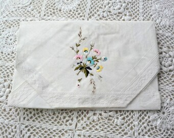 Fabric gift bag or envelope, sachet holder, jewelry storage, spring clutch made from vintage linens for wedding gifts or as a travel bag